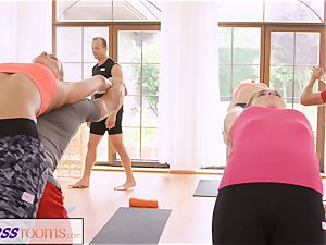 FitnessRooms group yoga session ends with a creampie