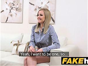 fake Agent bashful platinum-blonde model luvs hairless fuckbox slurped