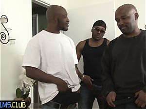 Bigtits hotty dp smashed from behind by big black cock