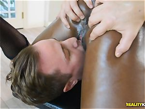 crazy ebony sweetie Ana Foxxx arrives as a cop and plunges the pink cigar of Jessie in her minge