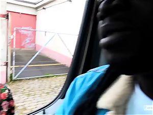 asses BUS - steamy interracial van pummel with Czech honey