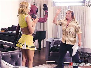 Jessa Rhodes gets nailed by strung up superhero