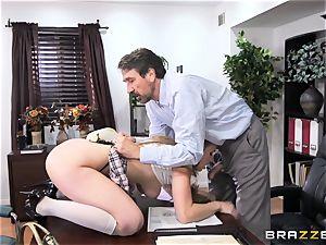 naughty college girl Lena Paul boned by headmaster