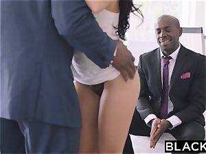 BLACKED super hot Megan Rain Gets DP'd By Her Sugar parent and His pal