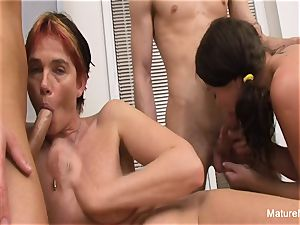 grandmother and honey service 2 fuck-sticks in a four-way