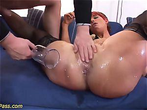 lubricated round mummy gets anal pumped