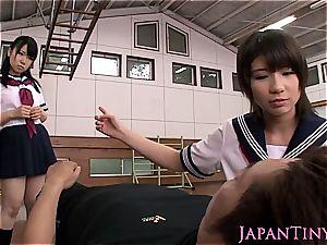 small japanese schoolgirls three-way smashing
