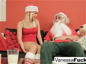 Vanessa letting Santa tear up her cock-squeezing raw cooter