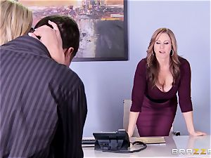 Julia Ann and Olivia Austin screw the manager together