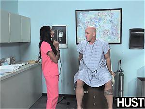 Latina nurse Sadie Santana gets both fuckholes spread