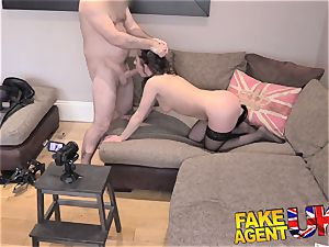 fake Agent UK Interviewee ginormous culo ass-plug and rock hard anal