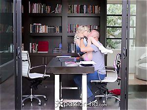 PASSION-HD platinum-blonde Piper Perri pummels her large prick lecturer
