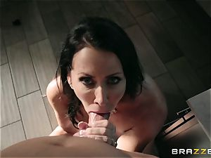 wild youth pounds his fabulous enormous buxomy stepmother Reagan Foxx in the bathroom room