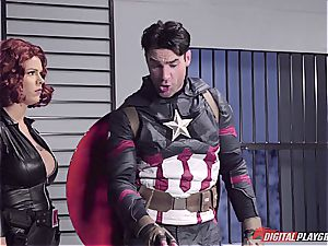 Captain America drowns dark-hued Widow in his superhero jizm