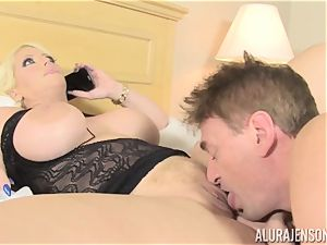 business girl Alura Jenson makes her employee gobble out his own spunk out of her gash