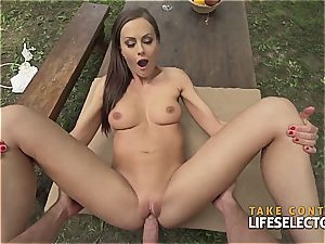 amazingly fit dark-haired hotty loves to get mischievous in public