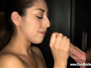 first-timer Latina guzzles knobs in gloryhole