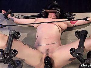 Alt big-chested slave in tool bondage anal invasion