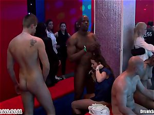 Mass porno orgy in a striptease bar