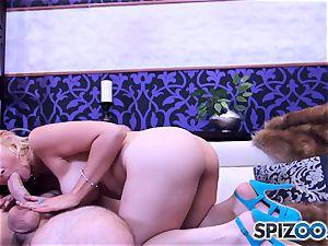 Sarah Vandella deep-throating and pummeling a hefty chisel