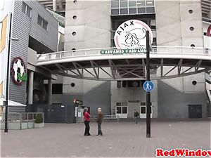 Real dutch hooker fellating testicles while stroking