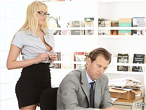 Vanessa cage bends over the desk and takes her bosses man-meat