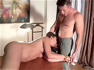 plump college girl in the form gets analed by the educator
