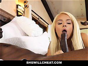 SheWillCheat hotwife wifey devours dark-hued schlong