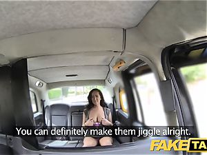 fake taxi damsel in rosy lingerie gets creampied