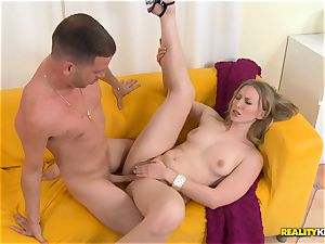 Riley Reynolds rides his rock hard schlong with her fur covered snatch