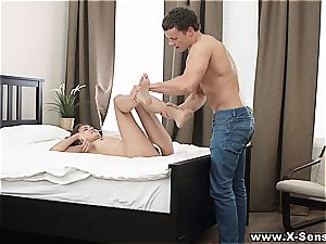 Teeny lovers - mouthful of jizz after ejaculation