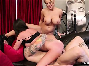 point of view deep-throating and banging with Dava Foxx and Alyssa Lynn
