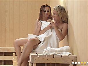 Karlie Montana temptation of Capri Cavanni in the sauna