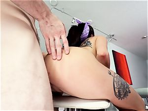 super-cute beautiful brown-haired Megan Sage has her sugary-sweet fuckbox battered into