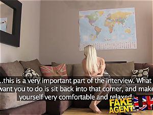 faux Agent UK ash-blonde sweetheart guzzles agents cumload