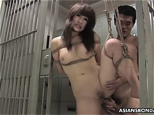 chinese sweetie gets humped with strength behind the slats