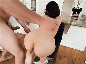 lil' small dark haired Harmony Wonder thrashed by a humungous draped meatpipe