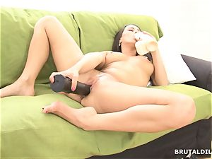mind-blowing brown-haired wide open her pink cooter with ample fake penises