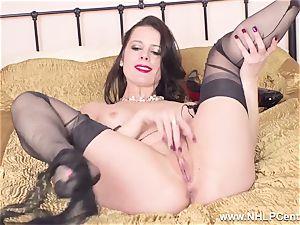 sumptuous mummy milks to orgasm in sheer nylons garters