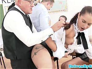 Rich students hookup with male tutor in class