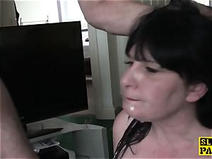 Bigtitted buxom brit gimps while porked