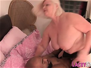 grannie enjoys humungous ebony hard-on and labia