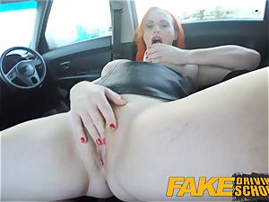 faux Driving college inked ginger-haired thirsts a yam-sized pecker