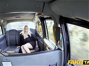 fake taxi platinum-blonde cougar Victoria Summers pummeled in a taxi