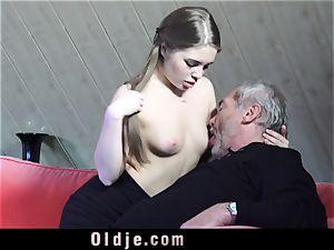 Russian damsel deepthroat The wood of an senior granddad