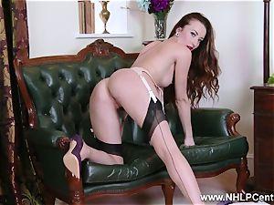 stunner takes off to nylons stilettos to toy her poon