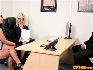 euro CFNM female dominance sucking pipe in office