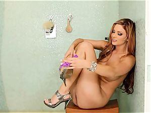 Jayden Cole hottie in purple undies in douche apartment
