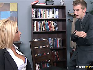 Britney Shannon bangs her impatient manager in his office